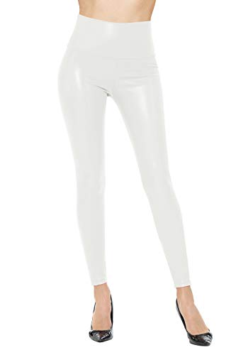 Womens Sexy Tight Fit Faux PU Leather High Waist Leggings (White, M)