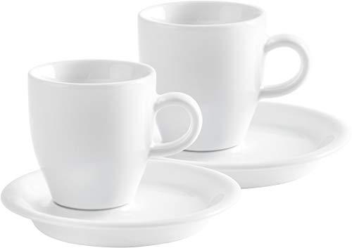 Kahla 21D248A90021C Espresso Doppio 4-teilig Café Sommelier Doppel Espressotassen Set Mokkatassen 50 ml für 2 Personen Porzellantassen