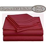 Clara Clark Supreme 1500 Collection 4pc Bed Sheet Set - Queen Size, Maroon, (Wine)