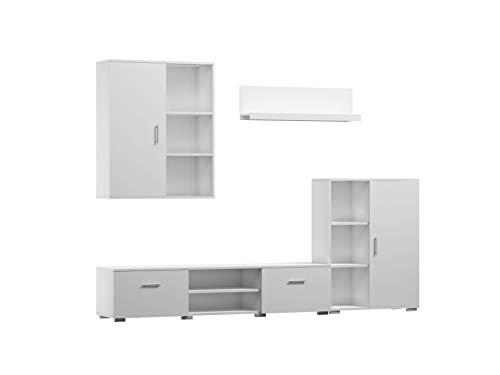 Per La Vita Wohnwand Ikar, Schrankwand Wohnzimmer Modern, Wohnzimmerschrank mit Hängeschrank, Fernsehtisch, Sideboard und Wandregal, Wohnzimmer Komplett Möbel - Weiß