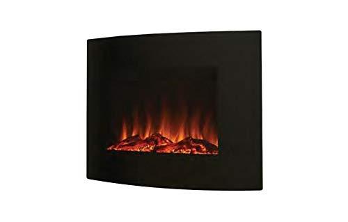 Noble Flame Madison - gebogen elektrische open haard muur-/staande haard - incl. elektrisch inzetstuk met verwarmingsfunctie - individuele vuursfeer - zwart