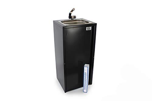 Mobiles Handwaschbecken Waschbecken Verkaufsstand + Heizstab Warmwasser bis ca. 36°C Anthrazit (ad-ideen)