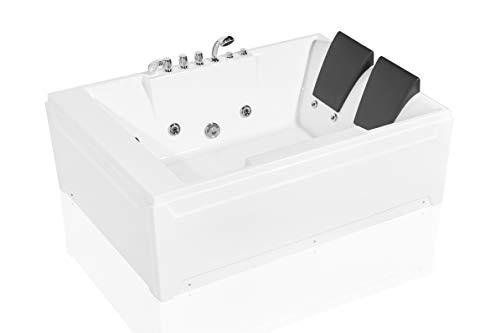 Empava72英寸压克力按摩浴缸2人惠而浦矩形水射流凉亭浸泡SPA双头浴池EMPV-JTX367,72英寸,白