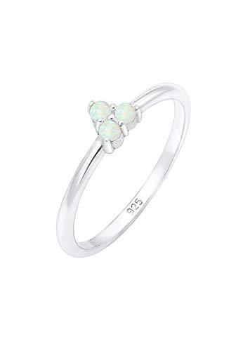 Elli Ring Damen Bandring Opal Kreis Geo Trio Trend in 925 Sterling Silber