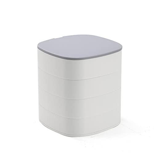 XTXY Joyero Giratorio, Caja De Almacenamiento De Joyas para Damas Escritorio Giratorio De Múltiples Capas Joyero Joyero Anillos Collar Pulsera Vitrina (Color : White)