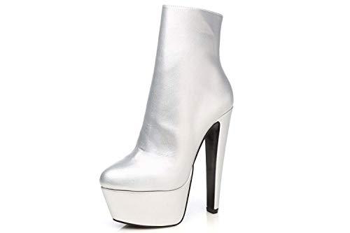 GIARO Selena Stiefelette in Übergrößen Silber Selena Silver Mate große Damenschuhe, Größe:43