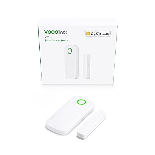 Apple HomeKit SÓLO Sensor Alarma Magnético Inalámbrico de Ventana y Puerta Bluetooth Ahorro de Energía Acceso Remoto con Hub del Hogar (VOCOlinc VS1 1 Pack)