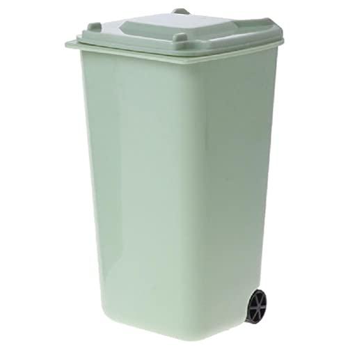 Mini cubo de basura con ruedas para bolígrafos, organizador de escritorio, cubo de basura para coche