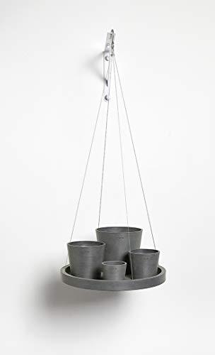 Ashortwalk ECOPOTS Soucoupe suspendue en plastique recyclé (diamètre 36 cm) Gris