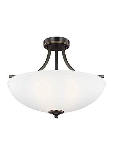 Sea Gull Lighting 7716503-782 Geary Medium Three Semi-Flush Convertible Pendant Hanging Modern Light Fixture, Heirloom Bronze Finish