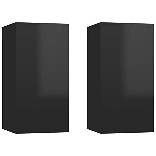 vidaXL 2X Muebles de TV Colgante Soporte Armario Aparador Estante Salón Sala de Estar Decoración Aglomerado Negro Brillante 30,5x30x60 cm
