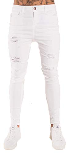 Socluer Pantalones Vaqueros Hombres Rotos Pitillo Slim Fit Skinny Pantalone Casuales Elasticos Agujero Pantalón Denim Moda Pantalones