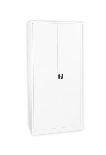 Weißer Flügeltürenschrank Stahlschrank Stahlblech Lagerschrank Aktenschrank Büroschrank Werkzeugschrank 4 Fachböden/4,5 OH/Maße: 1800x800x380mm 530337 weiß kompl. montiert und verschweißt