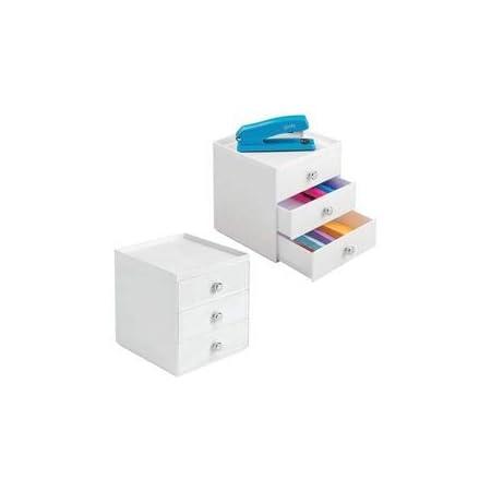 mDesign lot de 2 boite de rangement a tiroir – organiseur de bureau 3 tiroirs – trieur de bureau pratique pour un espace de travail en ordre – blanc