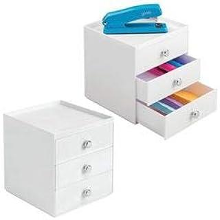 mDesign lot de 2 boite de rangement a tiroir – organiseur de bureau 3 tiroirs – trieur de bureau pratique pour un espace d...