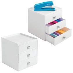 mDesign Organizador de Escritorio con 3 cajones – Cajonera pequeña para bolígrafos, Clips, Notas, etc. – Compacto gavetero de plástico para Mesa de Oficina – Juego de 2 – Gris y Transparente