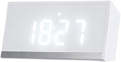 infactory Funk Reisewecker: Dimmbare Funk-LED-Tischuhr mit Wecker und Temperaturanzeige, weiß (Wecker Batterie)