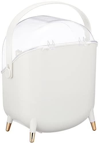Tokeo化粧品収納ボックスブラシホルダー付きコスメボックス大容量メイクボックスコスメ収納整理簡単小物入れ口紅スキンケア製品の保管多機能化粧品ケース防水防塵浴室洗面所収納シンプルで女の子への最高の贈り物です付帯メイクブラシケース(ホワイト)