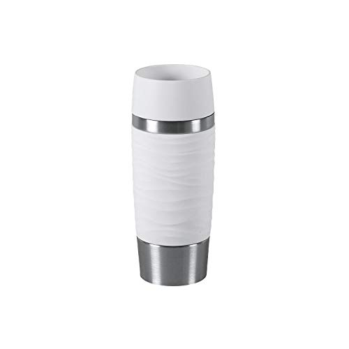 Emsa Travel Mug Waves IsolierbecherN20110 | 0,36 L | bis zu 4h heiß und 8h kalt | 100% dichter Thermobecher | 360°-Trinköffnung | Quick Press Verschluss | Kaffee to Go | Weiß