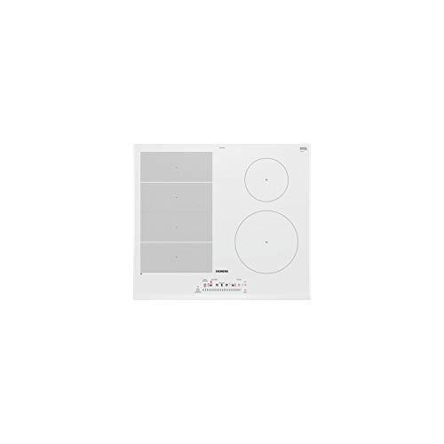 Plaque induction 4 feux Siemens EX652FEB1F - Table vitrocéramique induction blanche - 4 foyers - 4 boosters - Bords biseautés - largeur 60 cm