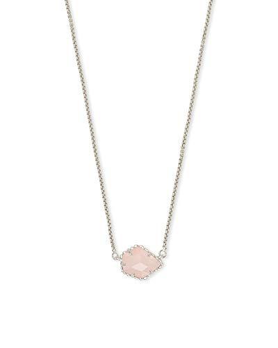 Kendra Scott Tess Small Pendant Necklace for Women, Dainty Fashion Jewelry, Rhodium-Plated, Rose Quartz