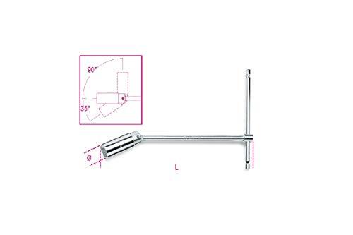 Beta Utensili - 957 16 - Chiavi a T con bussola snodata per candele d'accensione. Chiave con snodo a 35°. Protezione in gomma per proteggere la ceramica della candela, 16 5/8 mm