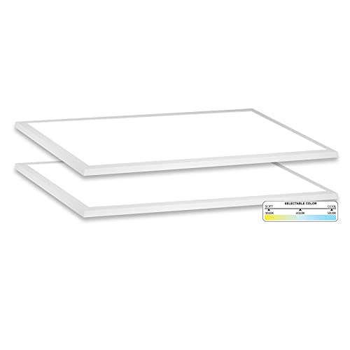 NUWATT 2x4 FT LED Surface Mount Panel (2 Pack), with Internal Drive, 3 CCT, 0-10V Dimmable, Flush Mount Ceiling Fixture, UL & DLC Certified, 1 inch Thick
