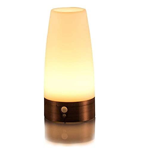 LED Bewegungsmelder Tischleuchte Nachtlicht LED-Tischlampe mit kabellosem PIR-Bewegungssensor warmweiß (Rund)