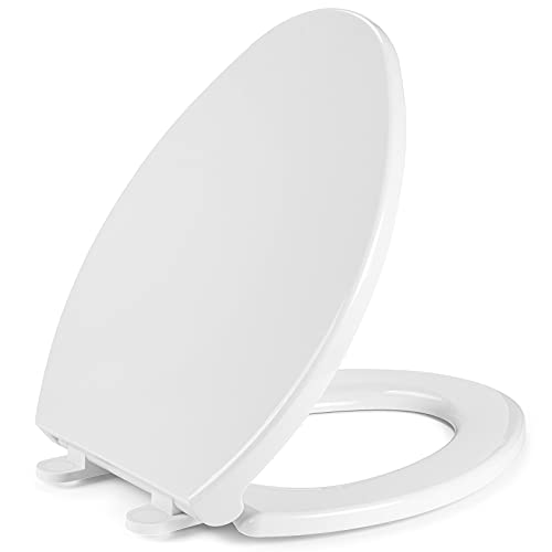 Elongated Toilet Seat with Cover Slow Soft Quiet Close Toilet Lid Durable Plastic White Toilet Bowl with Non-Slip Seat Bumpers Seat Easy to Install for Elongated Oval Toilets