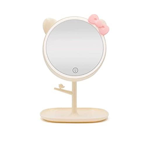 QTQHOME Espejo de Pared Maquillaje Inesktop Lámpara de Escritorio USB Recargable Led Atouch Pantalla Diable, Rosa, Beige
