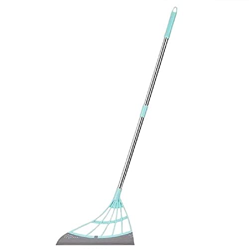 DSFV Multifunction Magic Broom,Floor Dust Mop Sweeper Wiper,Sweeper Easily Dry The Floor Surface and Remove Dirt and Hair,Adjustable Professional Squeegee for Tile, Shower, Floor,Blue 95cm31cm/Blue