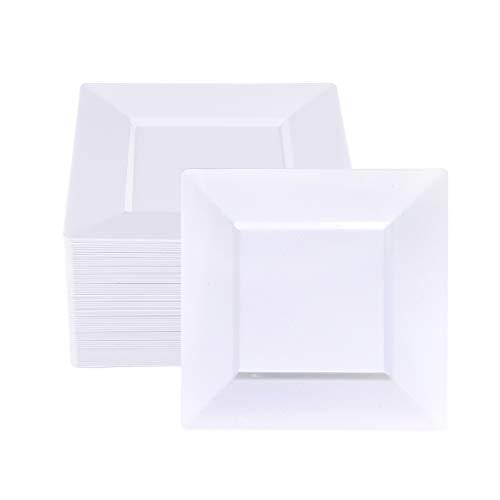 BUCLA 60Pieces White Plastic Plates – 7inch White Square Disposable Plates- Premium Disposable Wedding Party Plastic Dessert/salad Plates