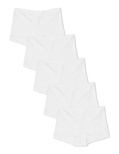 Amazon-Marke: Iris & Lilly Damen Shorts aus Baumwolle, 5er-Pack, Weiß (Weiß), L, Label: L