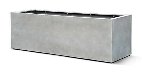 VAPLANTO Pflanzkübel Box 60 Beton Hell Grau Rechteckig * 60 x 20 x 20 cm * 10 Jahre Garantie