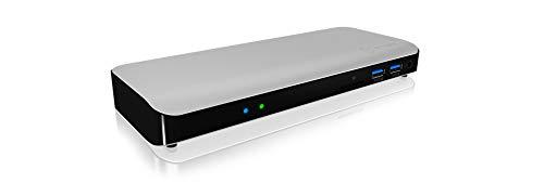 ICY BOX 10-fach Thunderbolt 3 DockingStation mit HDMI 4K 60Hz, 5x USB 3.0, Thunderbolt 3 Port, LAN, SD Kartenleser, Audio, Aluminium, silber/schwarz