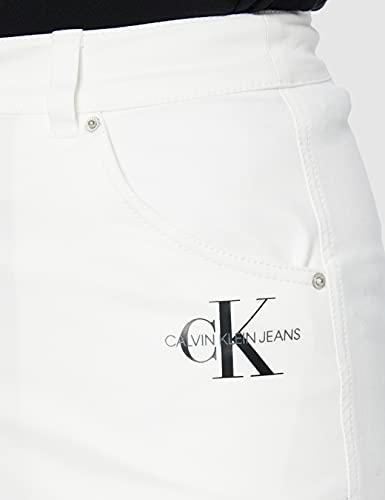 Calvin Klein Jeans Cotton Twill Mini Skirt Falda, Blanco Brillante, M para Mujer