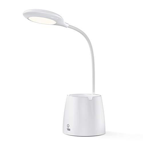 VOXON Lámpara Escritorio LED Recargable Lámpara de Mesa Regulable (Cuidado para los Ojos) con soporte para lápiz y teléfono, Control Táctil y Rotación de 360° para Oficina, Hogar, Estudio y Trabajo