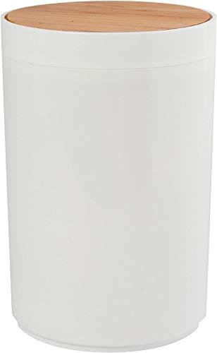 CUCO\'S NEST Serie Oslo Design Kosmetikeimer Bad Treteimer Abfalleimer Papierkorb Mülleimer 6 Liter (ØxH): ca. 18 x 26,3 cm weiß Bambus