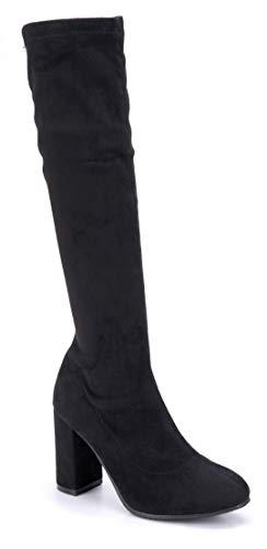 Schuhtempel24 Damen Schuhe Klassische Stiefel Stiefeletten Boots schwarz Blockabsatz 9 cm