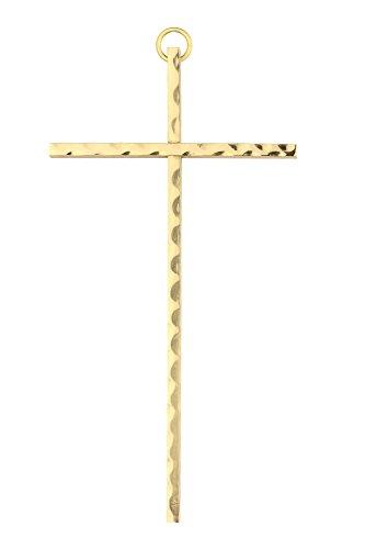 Motivationsgeschenke Kruzifix Messing, gehämmert 15 cm goldfarben Kreuz Wandkreuz
