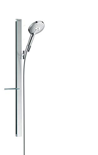 hansgrohe wassersparendes Duschsystem (Duschkopf, Schlauch, Duschstange, Raindance Select S 120 Regendusche 0,90m mit Ablage, 3 Strahlarten) Chrom
