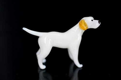Pies biały brązowy - figurka ze szkła Pointer stojący - biała brązowa rasa koca do sadzenia witryna dekoracyjna
