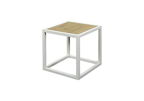 Spinder Design Diva - bijzettafel 40x40x40 cm - wit/eiken