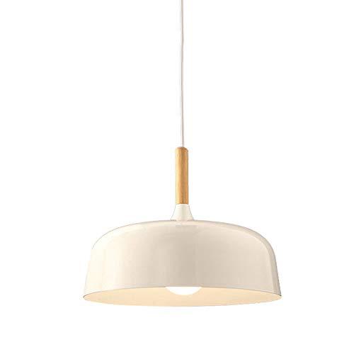 Lámpara de techo retro industrial para comedor, de madera y metal, con pantalla de metal, estilo vintage, casquillo E27, altura regulable, para comedor, salón, dormitorio, cocina, mostrador.