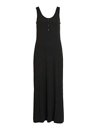 Vila Dam Videll Maxi S/L Dress-Noos klänning, svart, 34 SE
