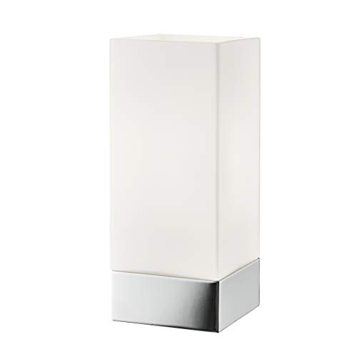 Lighting Collection Modern Sleek Style 1 Light Touch Square Table Lamp with Opal Shade, Chrome