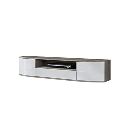 ASM Banc TV - Ontario II - 190 Cm X 43 Cm X 48 Cm - Chêne Et Blanc