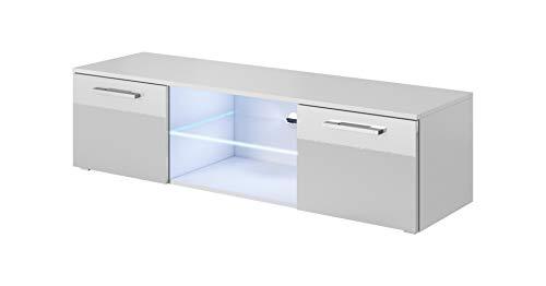 E-com - Mueble TV Salon Moderno Mesa Television Zeus - 140cm - Blanco/Gris