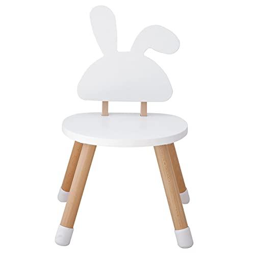 KYWAI - Sedia per bambini in legno bianco, per bambini, Legno di faggio laccato. Design nordico. Bordi arrotondati per una maggiore sicurezza. (Blanco, Coniglio)
