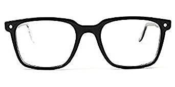 Snob Milano - Occhiali da vista in plastica rettangolari con clip solare per uomo - OMEN NERO - 53/20/145mm, Nero